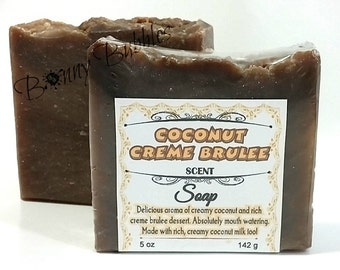 COCONUT CREME BRULEE soap | with coconut milk | rustic style handmade savon | by Bonny Bubbles