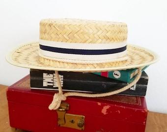 Adorable Vintage Nautical Straw Beach Fedora Hat