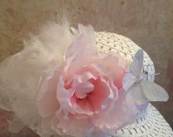 Spring 2017-Little Girls Tea Hat - Easter Hat - Church Hat - Flower Girl Hat
