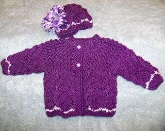 Purple Ripple Baby Cardigan with flower hat