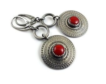 Silver long earring, red coral jewelry, circle earring, etched silver