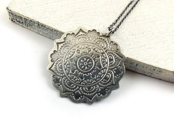 Etched silver necklace, sterling silver jewelry,mandala pendant