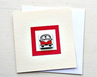 Campervan Card Red, Combi, VW, Birthday Card, Greeting Card, Blank Card, Magnet Card, Childrens Card