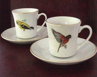Pontesa Songbirds Tes Cups, Set of 2 Vintage Finches Cups and Saucers from the Songbirds Tea Set (F3)