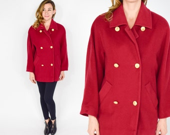 80s Red Coat | Raspberry Red Wool Winter Oversized Jacket | Large
