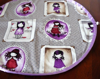Play and Store Mat - beautiful little girls in red and purple - purple trim