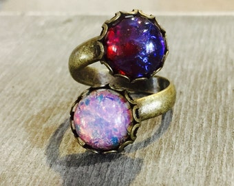 Fire Opal Ring Red & Pink Opals Wrap Ring Artisan Brass Bohemian Victorian Style Design
