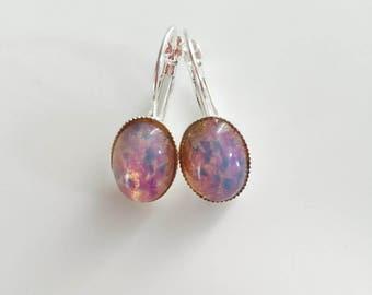 Opal Earring Petite Pink Fire Opal Leverback Earrings Spring Accessory