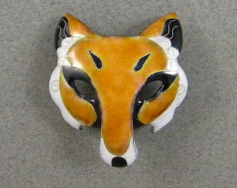 Enamel Fox Mask Studio Button
