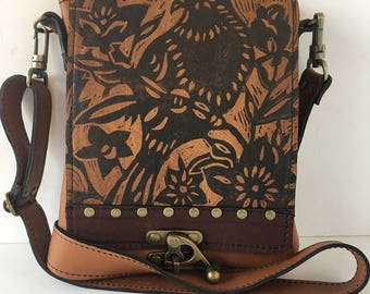"Leather messenger bag ,small, caramel and brown,bird print, ""leeds satchel"""