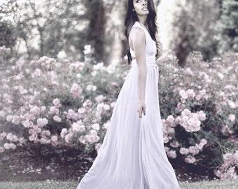 SAMPLE SALE - Ivory Convertible/Infinity Wedding Dress with Silk Chiffon Overlay - Size M/L