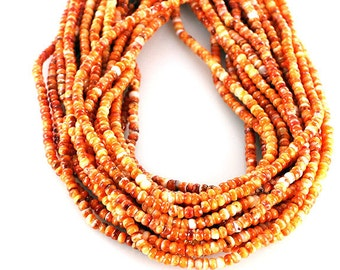 "ORANGE SPINY OYSTER Beads Rondelles 4mm 16"" Vivid Color"