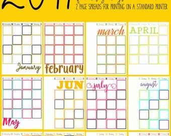NEW!! 2017 CALENDARS - Calendar Journal Templates Instant Download