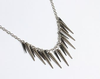 Spiky Long Necklace (Silver or Pink version)