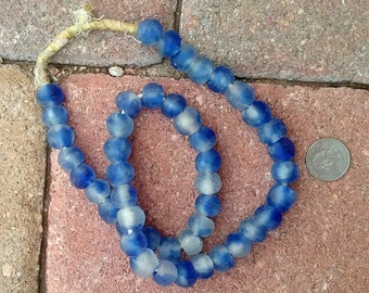 Ghana Glass Beads: Blue Cloud (12x13mm)