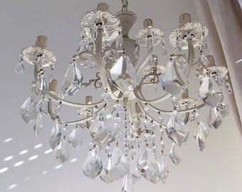 Su ordinazione lampadario stile shabby chic cristalli e gocce for Lampadario shabby chic