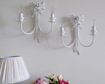 PAIR of Florence wrought iron shabby chic sconces, vintage style white ribbons - made to order