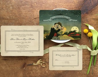 Romantic Wedding invitation, Wedding Invitation Set, Wedding Invitations Vintage, Vintage Wedding, Victorian Moon Invitation, Lover's Moon