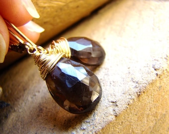 Smoky Quartz Earrings - Gold Wire Wrapped Jewelry. Brown faceted stones