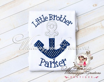Boys Anchor Shirt, Custom Personalized Boy Shirt, Little Brother Shirt, Big Brother Shirt, Siblings Shirt - Blue Anchor Outfit