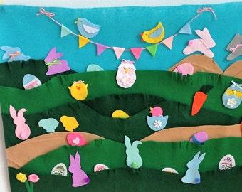 Felt Board/Wall Hanging/Felt Mat - 28 Felt Bunnies, Chicks, Eggs,Carrots - Easter/Spring Celebration for Child Play