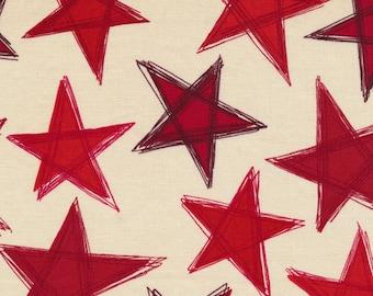 Valor from Fabri-Quilt - Full or Half Yard Red Stars on Natural - Patriotic Stars