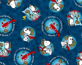 Snoopy Flying Ace from Quilting Treasures - Full or half Yard Snoopy Flying, Airplanes on Dark Blue