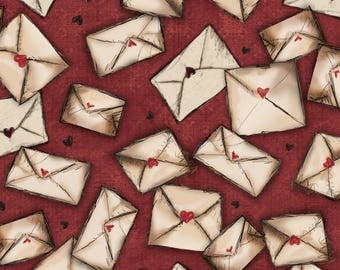 Letters from the Heart by Santoro for Quilting Treasures - Full or Half Yard Envelopes on Cranberry