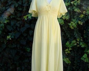 ON SALE Vintage 60s / Lemon Meringue  / Deep V / Flutter Sleeve / Maxi / Goddess / Nightgown / Small