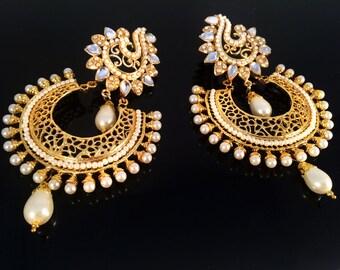 Pearl Kundan Gold Chandelier earring,Mughal kundan earrings,Pearl Royal Chandbali Earrings,Indian Jewellery handmade earrings by Taneesi