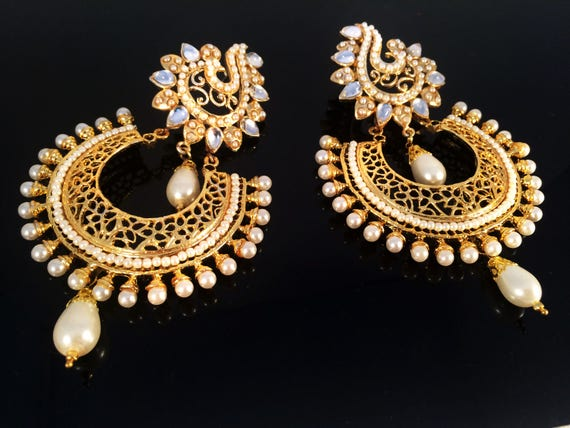 Pearl kundan gold chandelier earringmughal kundan like this item aloadofball Choice Image