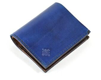Vegetable Navy Blue Leather Bi Fold Card Bill Wallet Handmade