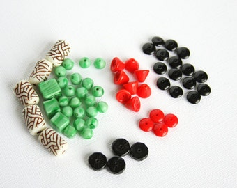 Mix Vintage Pressed Glass Beads Tube Round Cube Square Cone Saucer Rondelle Smooth Faceted Mint Green Black Chinese Red Poppy Red Loose Bead