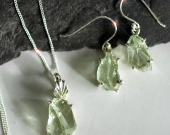 Green Tea - Green Amethyst Rough Sterling Silver Earrings