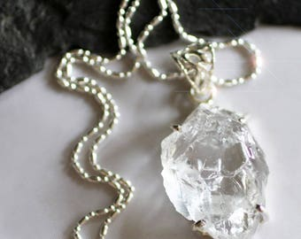 Polar Ice  - Rough and Raw Quartz Crystal Sterling Silver Necklace