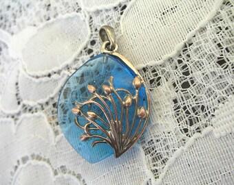 Vintage Art Deco Pendant ~  Turquoise Blue and Copper setting ~ Drop