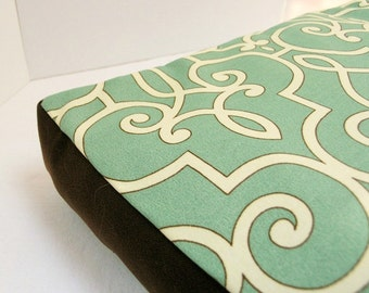 Dog Bed Cover  Seafoam/Cream HGTV Print Indoor/Outdoor w/ Brown Upholstery Sides 24 x 36