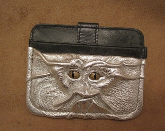 Grichels leather card wallet - metallic silver with bronze speckled slit pupil reptile eyes