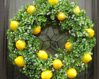 Lemon Wreath, Boxwood Lemon Wreath, Boxwood Wreath, Lemon Kitchen Decor, Lemon Door Wreath, Kitchen Wreath, Lemon Wall Decor