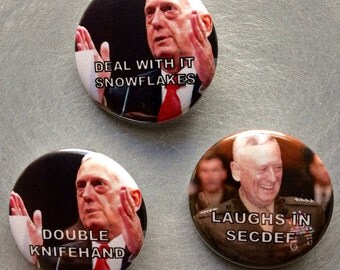 "General James Mad Dog Mattis Sec Def Knife Hand Snowflakes 1.5"" Pinback Button"