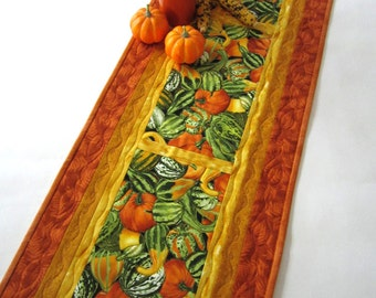 Fall Table Runner, Gourds, Quilted Table Runner,  Handmade Table Runner,  Green, Orange, Gold, Home Decor, Tablerunner, Fall Decor