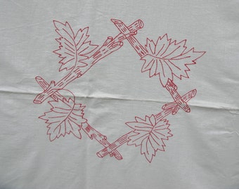 """Vintage Embroidered Tablecloth redwork cotton, leaf and twig, 34"""" x 37"""""""