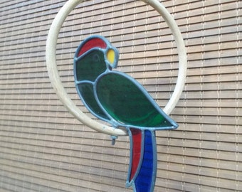 Vintage Stained Glass Green Parrot in a Ring Suncatcher