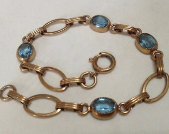 12K Gold Filled Link Bracelet with Aqua Blue Glass Stones – Art Deco 1930s Jewelry