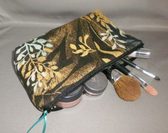 Cosmetic Bag - Makeup Bag - Large Zipper Pouch - Ferns - Leaves - Bronze - Turquoise - Teal - Tropical