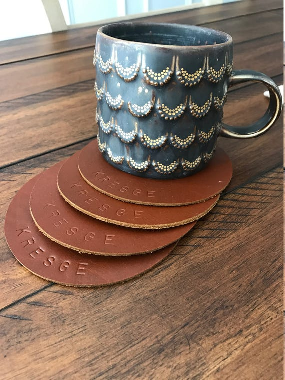"Set of 4 Leather Circle Shaped Coasters. 4.5"" Wide - Choose from Caramel Brown, Chocolate Brown, or Black! Personalization available."