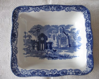 Vintage Geo.Jones & Sons Blue and White Transferware Shredded Wheat Dish Bowl  1930's  Breakfast  Cereal England
