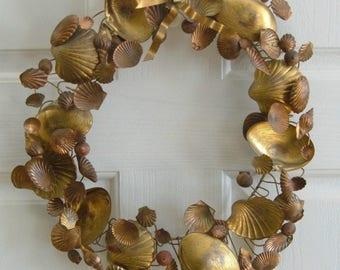 "Vintage Petites Choses Dresden Brass Copper Wreath Seashells 15"" 85 Shells Figures Metal"