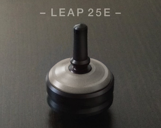 "LEAP 25E Gray – Precision spin top with ceramic tip and rubber grip for improved control – 1"" desk and pocket top"