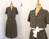 secretary dress - 70s day dress - vintage shirtwaist dress - xl xlarge - button front 70s dress